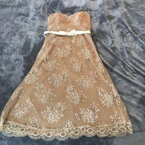 Betsey Johnson New York Strapless Gold Party Dress